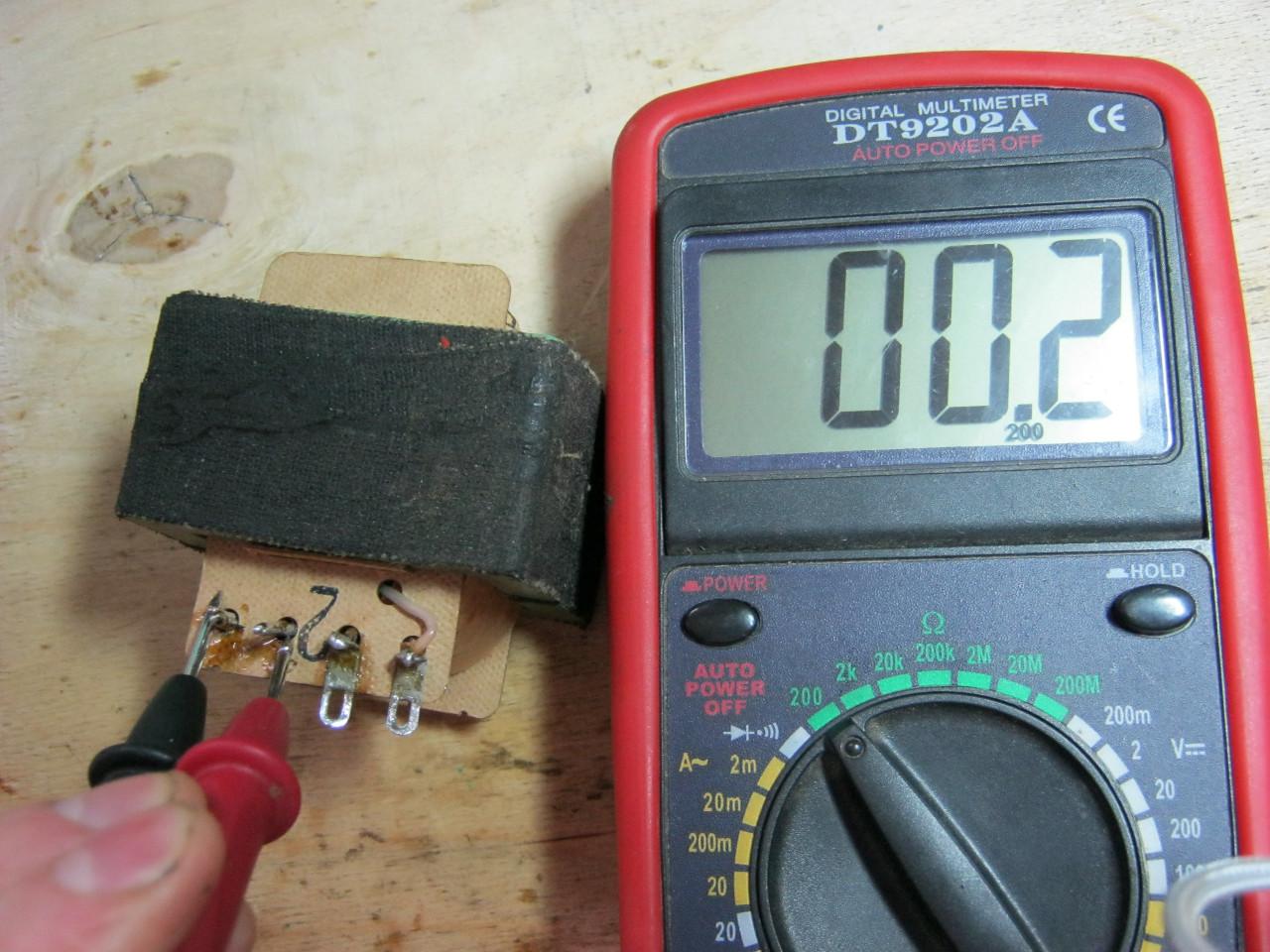 проверить вторичную обмотку трансформатора